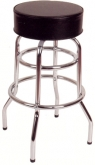 Chrome Backless Swivel Bar Stool with a Single/Double Ring