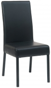 Black Metal Parsons Lounge Chair with Black Vinyl Upholstery