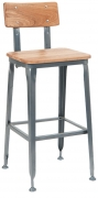 Dark Grey Industrial Style Metal Bar Stool with Wood Back and Seat in Natural Finish
