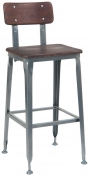 Dark Grey Industrial Style Metal Bar Stool with Wood Back and Seat in Dark Walnut Finish