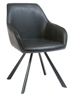 Lounge Metal Arm Chair with Black Vinyl Upholstery