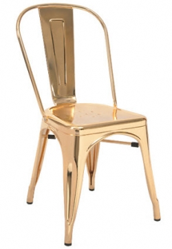 Bistro Style Metal Chair in Gold Finish