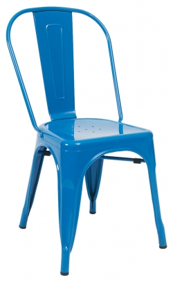 Bistro Style Metal Chair in Blue Finish