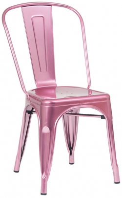 Bistro Style Metal Chair in Pink Finish