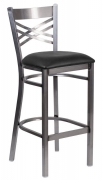 Clear Coated Metal X Back Bar Stool