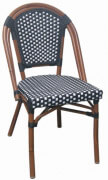 Aluminum Bamboo Patio Chair with Black & White Rattan