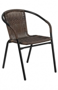 Dark Brown Indoor-Outdoor Rattan Restaurant Chair