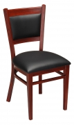 Metal Padded Back Chair with Premium Wood Grain Finish