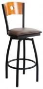 Metal Swivel Bar Stool with a Wood Back - Circle