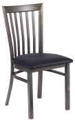 Clear Coat Elongated Vertical Back Metal Chair