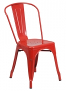 Red Bistro Style Metal Chair