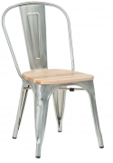 Silver Bistro Style Metal Chair with Natural Wood Seat