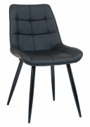 Black Metal Chair with Padded Black Vinyl Upholstery