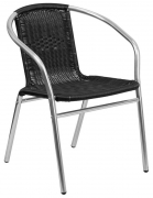 Economy Aluminum & Black Rattan Patio Chair
