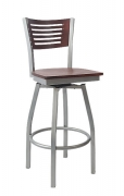 Silver Swivel Bar Stool with a Wood Back - 5 Slats