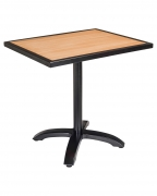 Black Aluminum Patio Tables with Plastic Teak Top