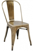 Bistro Style Metal Chair in Brass Finish