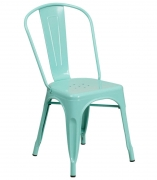 Bistro Style Metal Chair in Light Blue Finish