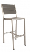 Aluminum Patio Bar Stool with Grey Plastic Teak
