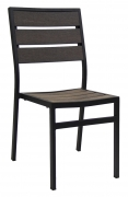 Black Aluminum Chair with Dark Walnut Plastic Teak