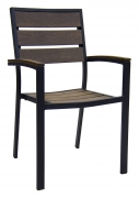 Black Aluminum Armchair with Dark Walnut Plastic Teak