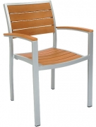 Heavy Duty Patio Arm Chair with Plastic Teak