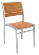 Grey Finish Heavy Duty Patio Chair with Plastic Teak