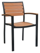 Black Heavy Duty Plastic Teak Patio Arm Chair