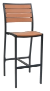Black Heavy Duty Plastic Teak Patio Bar Stool