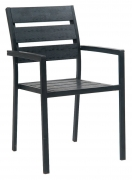 Black Metal Restaurant Patio Arm Chair
