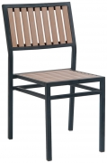 Black Metal Chair with Natural Finish Vertical Slat Plastic Teak