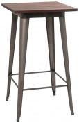 Industrial Series Bar Height Table in Dark Grey Finish and Wood Top