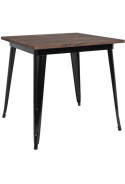 Industrial Black Restaurant Table with Dark Walnut Wood Top