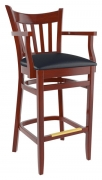 Premium US Made Vertical Slat Wood Bar Stool With Arms