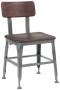Dark Grey Industrial Style Metal Chair with Wood Back and Seat in Dark Walnut Finish