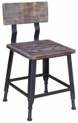 Industrial Series Black Metal Chair with Wood Back & Seat in Distressed Walnut Finish
